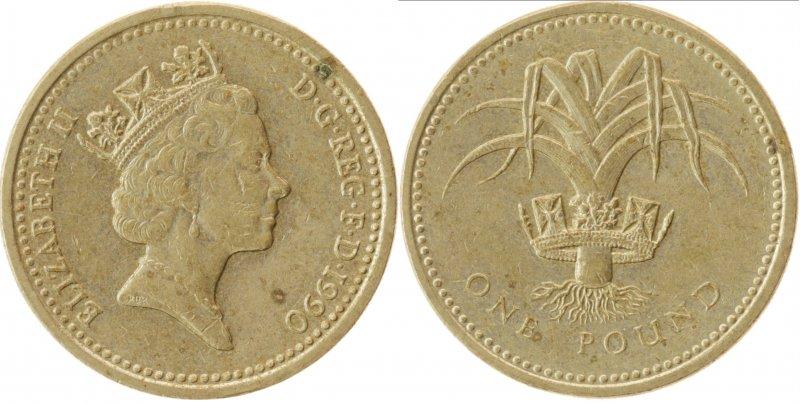 Однофунтовая монета 1990 года, посвященная Уэльсу. Чеканилась в 1985 и 1990 годах
