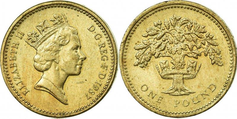 Однофунтовая монета 1987 года, посвященная Англии. Чеканилась в 1987 и 1992 годах. На гурте – латинское выражение «DECUS ET TUTAMEN» («Украшение и защита»)