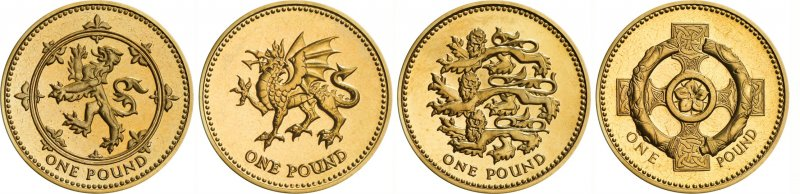 Реверсы однофунтовых монет, дизайна Нормана Стиллмана. «Шотландская» монета выпускалась в 1994 и 1999 годах, «Уэльс» в 1995 и 2000 годах, «Англия» в 1997 и 2002 годах, а «Северная Ирландия» в 1996 и 2001