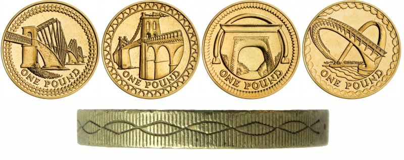 Реверсы однофунтовых монет, дизайна Эдвины Эллис. Слева на право: Шотландия, Уэльс, Северная Ирландия, Англия. На гурте – насечка, символизирующая, по задумке автора, мосты и железнодорожные пути
