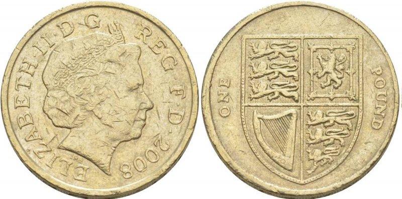 Однофунтовая монета 2008 года. На реверсе изображён Королевский герб авторства Мэтью Дента. На гурте отчеканено латинское выражение «DECUS ET TUTAMEN» («Украшение и защита»)