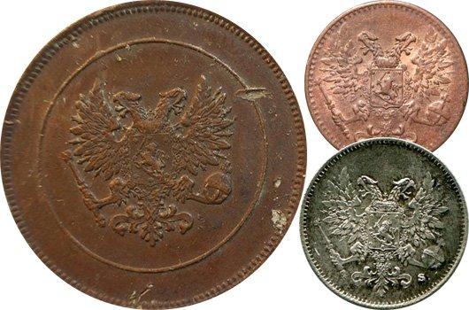 Монеты Русской Финляндии без имперских корон