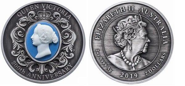 2 доллара 2019 года «200 лет викторианской эпохи» с репликой камеи XIX века, Австралия, серебро 999-й пробы, 62,2 г