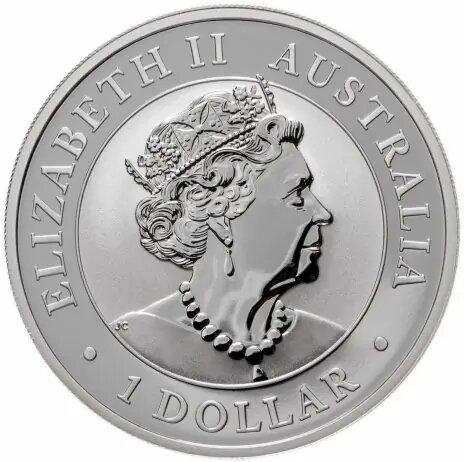 Портрет королевы Елизаветы II в исполнении Джоди Кларка на памятной серебряной монете 1 доллар «Австралийский эму» 2021 года