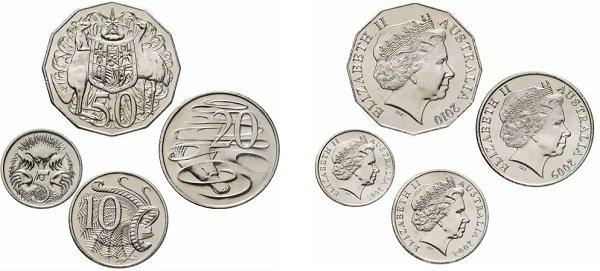 Австралийские центы 2004-2010 гг.
