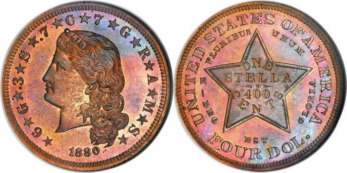 4 доллара 1880 года (медь)