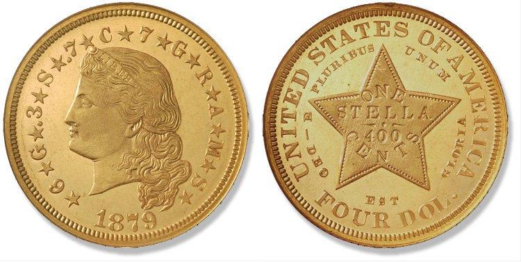 4 доллара 1879 года (с распущенными волосами)
