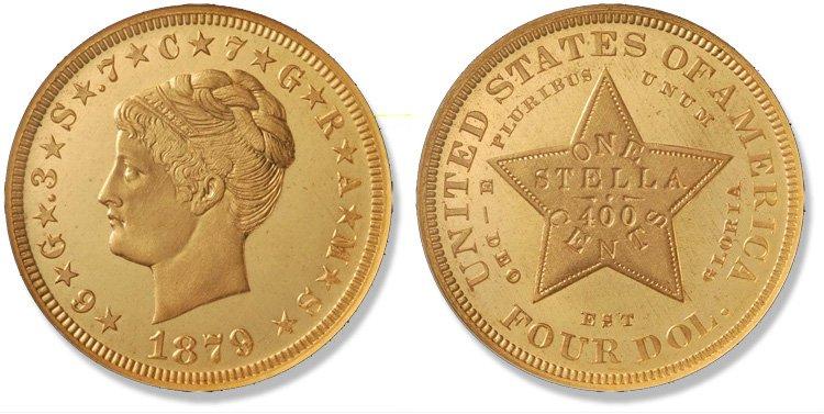4 доллара 1879 года (с завитыми волосами)