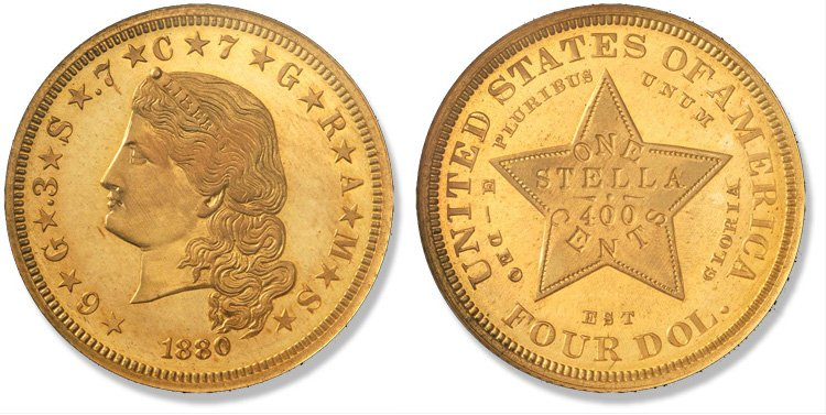 4 доллара 1880 года (с распущенными волосами)