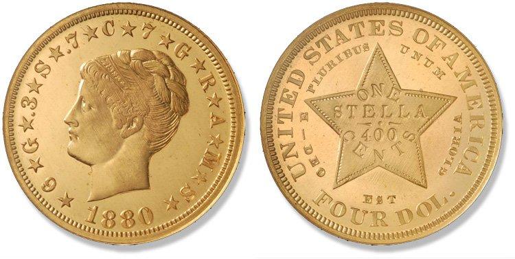 4 доллара 1880 года (с завитыми волосами)