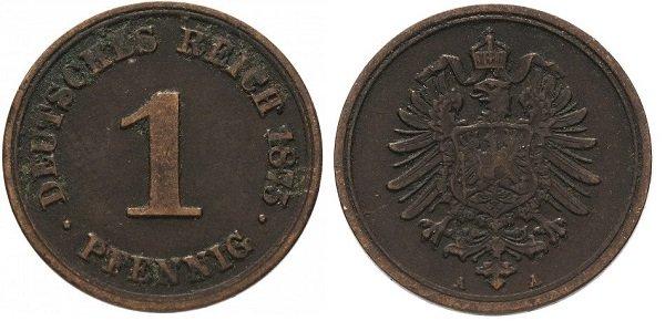 1 пфенниг. Германская империя. 1875 год. Медь