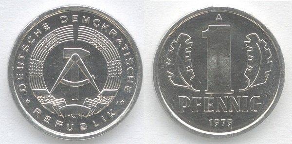 1 пфенниг. ГДР. 1979 год