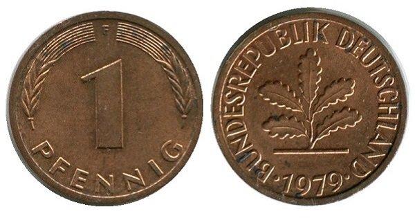 1 пфенниг. ФРГ. 1979 год