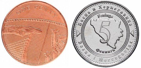Современные наследники пфеннига – английский пенни и боснийский фенинг