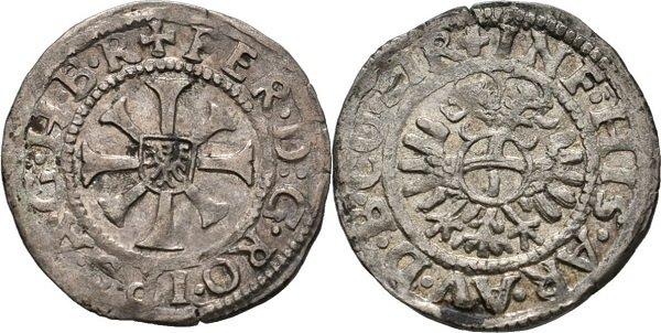 Крейцер. Фердинанд I Габсбург. 1553-1564 гг. Серебро. 0,9 г