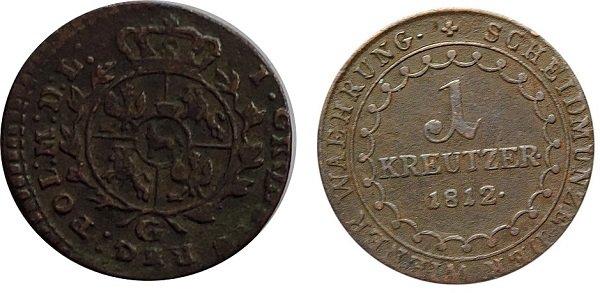 Медные грош (Речь Посполитая, 1767 год) и крейцер (Австрия, 1812 год)