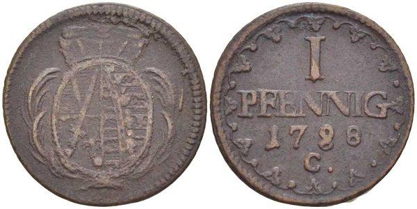 1 пфенниг. Саксония. 1788 год. Медь