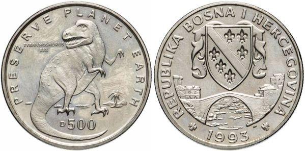 Босния и Герцеговина. 500 динаров 1993 года. Тираннозавр