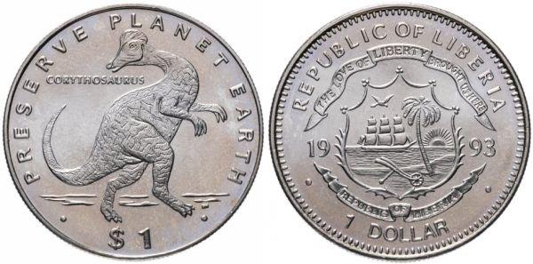 Либерия. 1 доллар 1993 года. Коритозавр