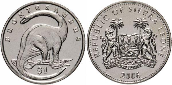 Сьерра-Леоне. 1 доллар 2006 года. Бронтозавр