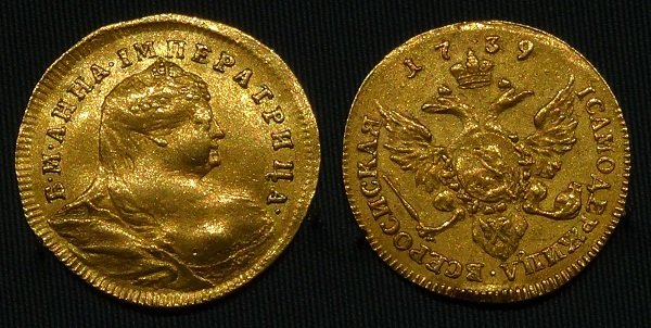 Червонец. 1739 год. Золото. Санкт-Петербургский монетный двор