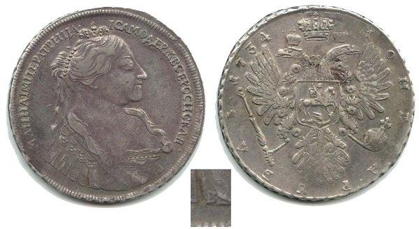 Рубль. 1734 год. Серебро. Императрица в наплечнике. Медальер И. Васильев