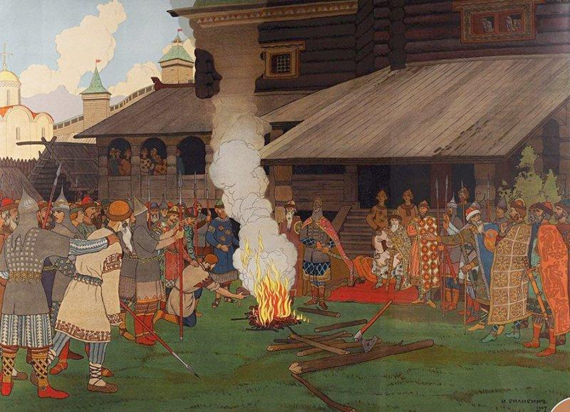 И. Билибин, Суд во времена русской правды (1907)