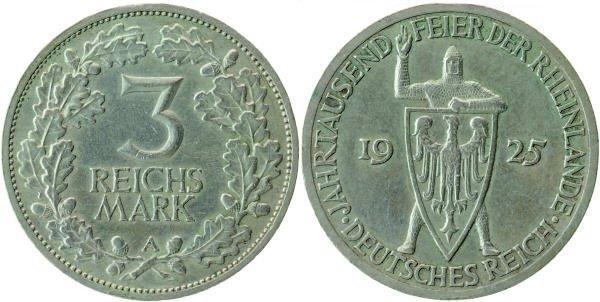 3 рейхсмарки, Веймарская республика, 1925 год