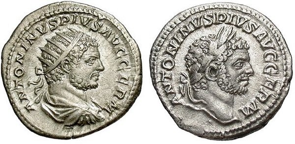 Двойной денарий-антониан (слева) и денарий императора Каракаллы. 214-215 год