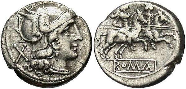 Римский денарий. После 211 года до н.э. Серебро
