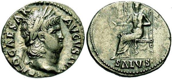 Денарий Нерона, впервые отчеканенный с пониженным содержанием серебра. 65-66 г. Чеканка Рима. На реверсе – богиня Салюс (Salus), олицетворение благополучия и успеха