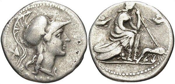Республиканский денарий. 115 г. до н.э. На реверсе – богиня Рома, сидящая на трофеях