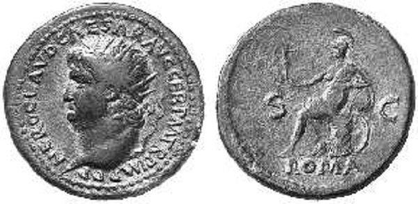 Профиль Нерона с толстой шеей и несколькими подбородками. На реверсе – богиня Рома, олицетворение Рима. Сестерций. Медь. 66-68 гг.