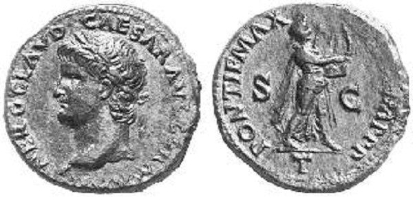 На реверсе - Нерон в образе Аполлона Кифареда (игрока на кифаре). Асс. Медь. 64 год
