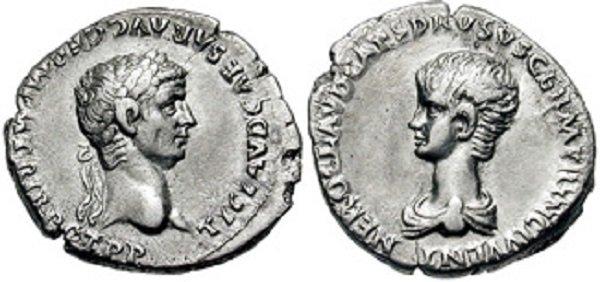 Одно из первых изображений Нерона на денарии императора Клавдия. Серебро. 50-54 гг.