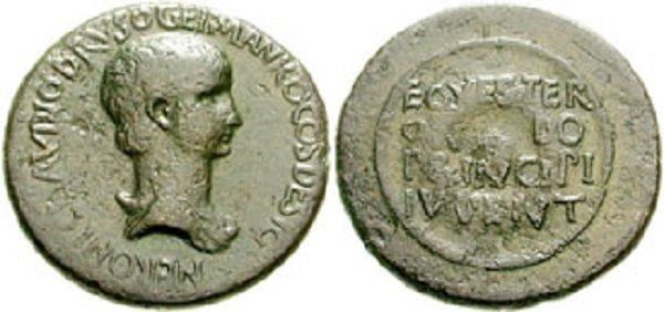 Нерон как цезарь. Сестерций Клавдия. Медь. 50-54 гг.