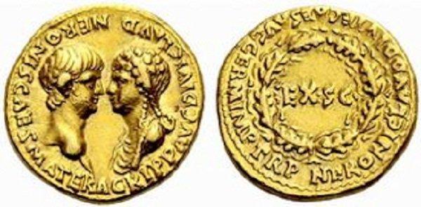 Нерон и Агриппина. Ауреус. Золото. 50-е годы