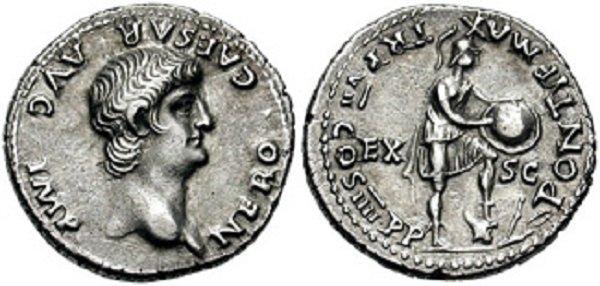 Профиль Нерона на денарии 60 года. Серебро. На реверсе римский солдат со щитом, попирающий вражеские доспехи, кинжал и лук