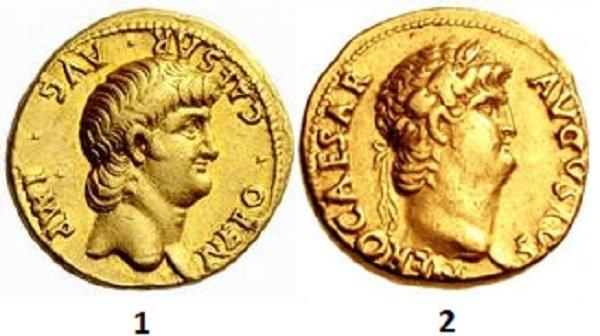 Профили Нерона на золотых ауреусах. 1 – 62-63 гг. 2 – 64-65 гг.