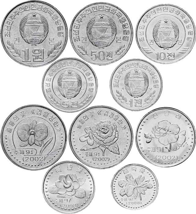 Циркуляционные монеты Северной Кореи 2002-2008 гг