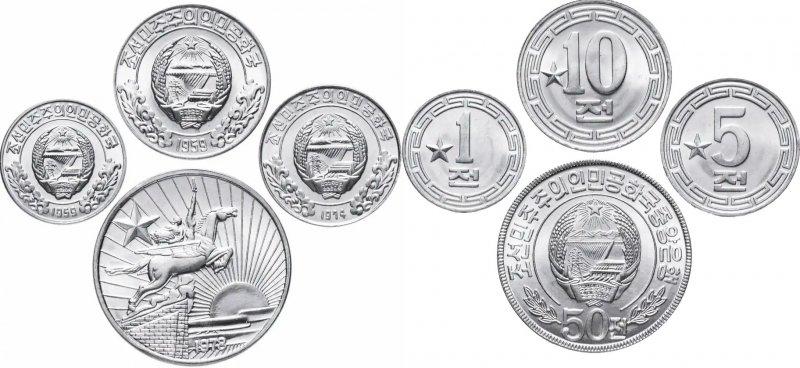 Разменные монеты КНДР - чоны с одной звездой на реверсе (для гостей из соцстран), 1959-1978 гг.