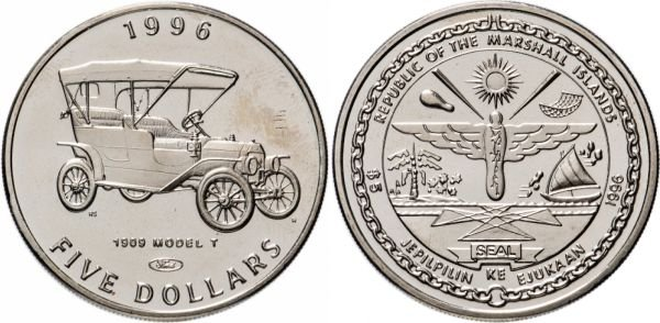 Маршалловы Острова. 5 долларов 1996 года. Ford Model T