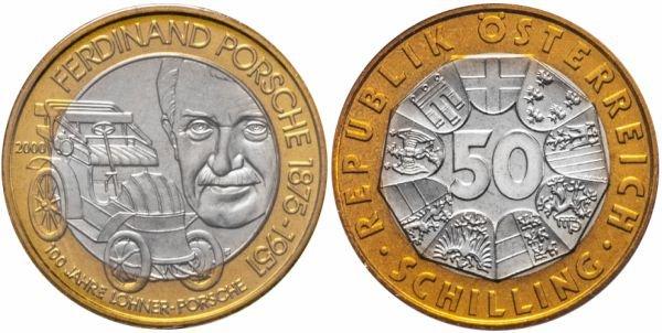 Австрия. 50 шиллингов 2000 года. Lohner Porsche