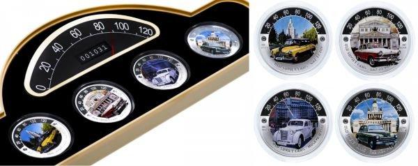 Ниуэ. 4 монеты из серии «Старые советские автомобили» в футляре