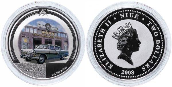 Ниуэ. 2 доллара 2008 года. ГАЗ-13 «Чайка»