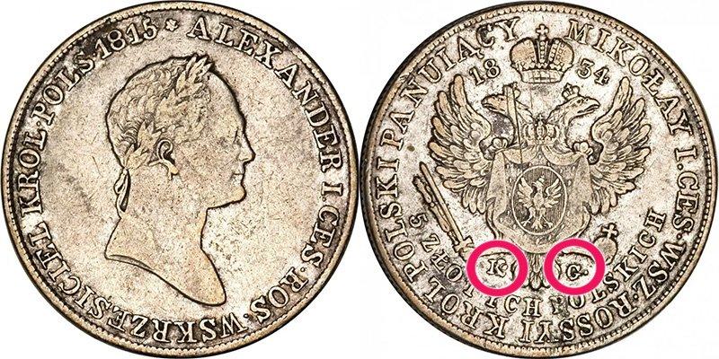 Знак минцмейстера на монете для Польши