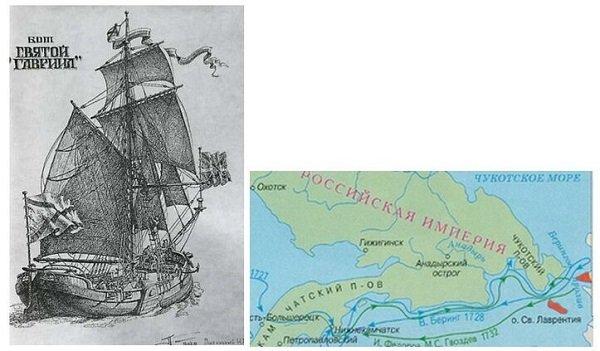Бот «Святой Гавриил» и карта экспедиции Гвоздева