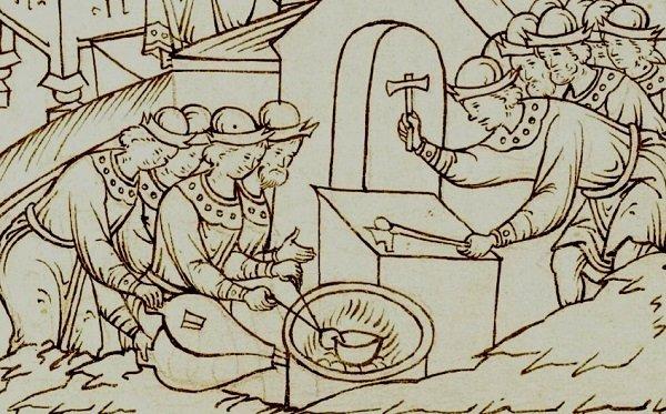 Чеканка проволочных копеек на миниатюре из Лицевого Летописного Свода. XVI в.