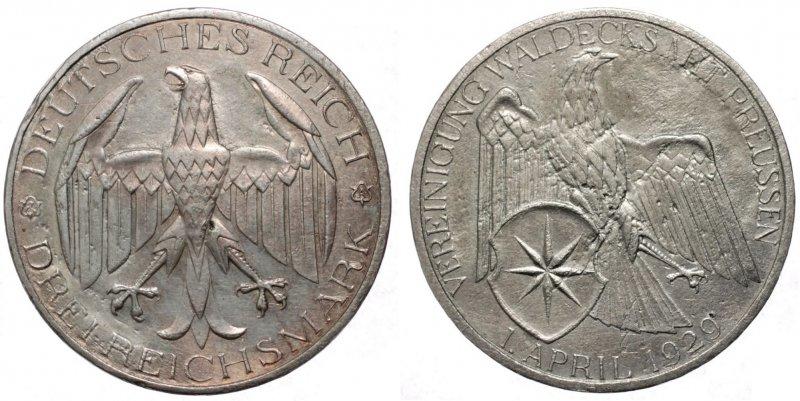 Объединение Вальдека и Пруссии (3 рейхсмарки)