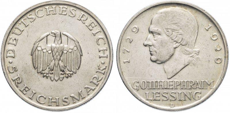 200 лет со дня рождения Готхольда Лессинга (5 рейхсмарок)